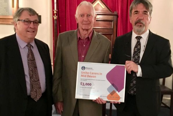 Cash boost for Unite Carers thanks to Devon Freemasons