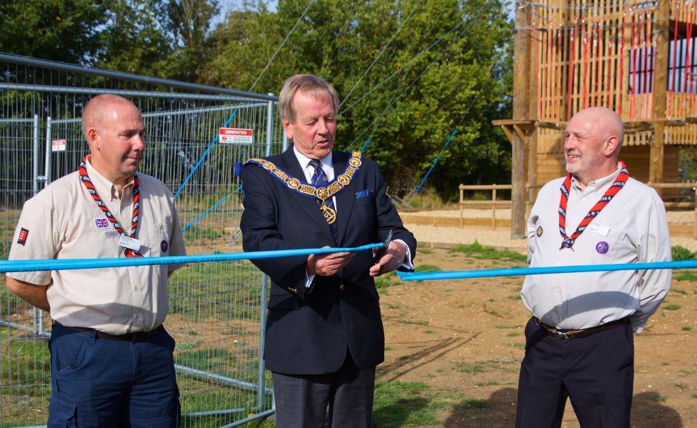 England: Essex Freemasons and Essex Scouts teamed up to build the ropes course