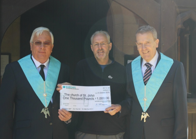 Saffron Walden Freemasons donate to church to help with maintenance