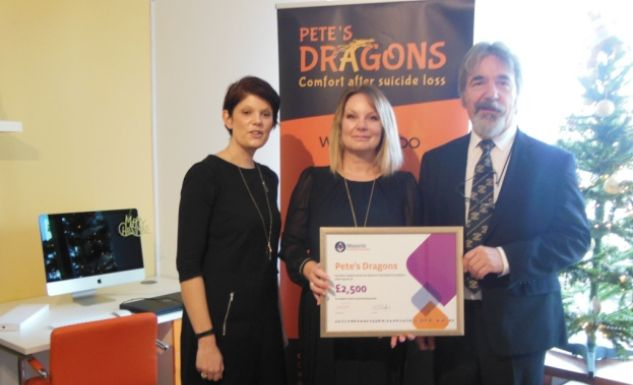 England - Devon Freemasons donate to suicide bereavement charity Pete's Dragons