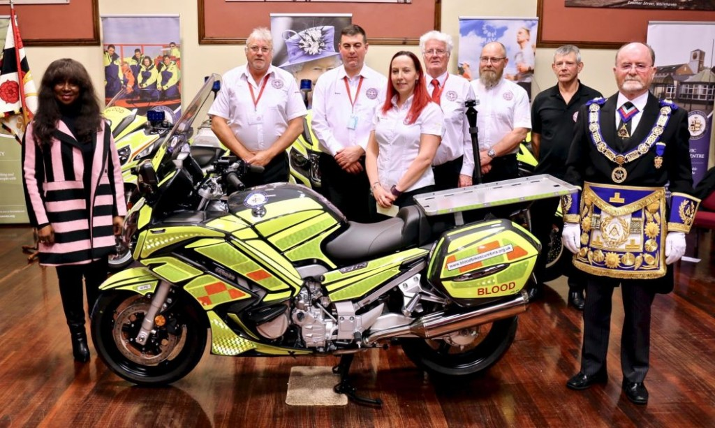 England - Freemasons give life-saving gift to Blood Bikes Cumbria