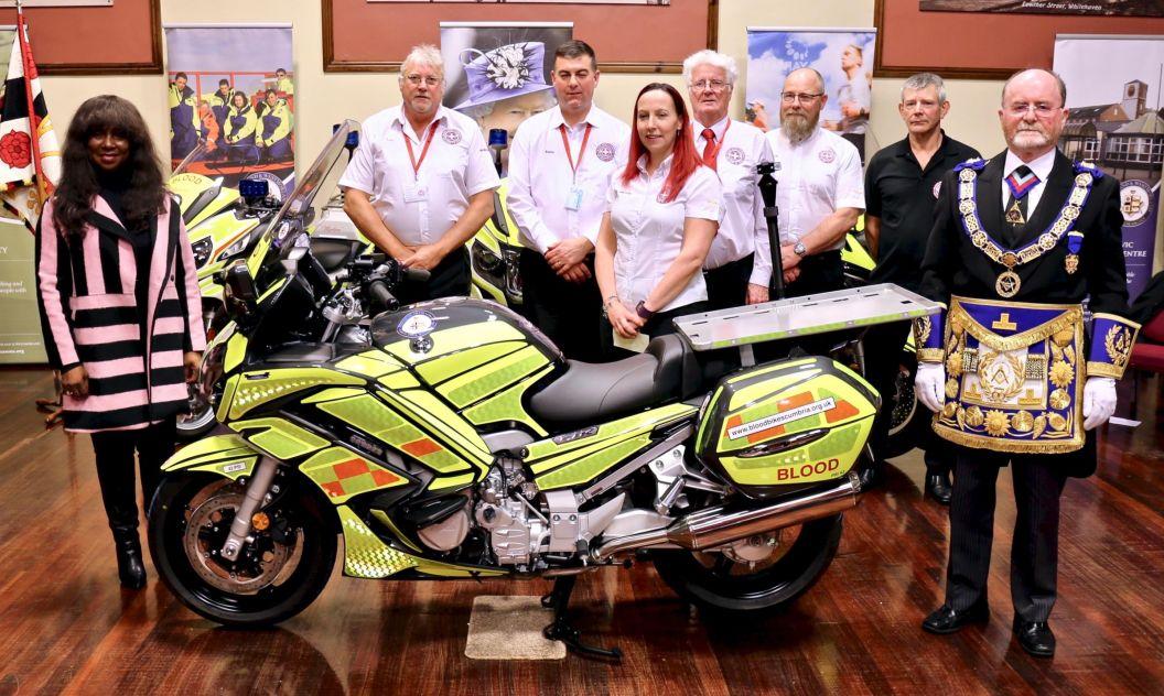 England - Freemasons give life-saving gift to Blood Bikes Cumbria