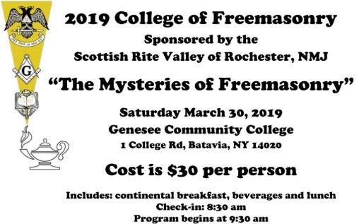 Rochester, NY: College of Freemasonry 3/30