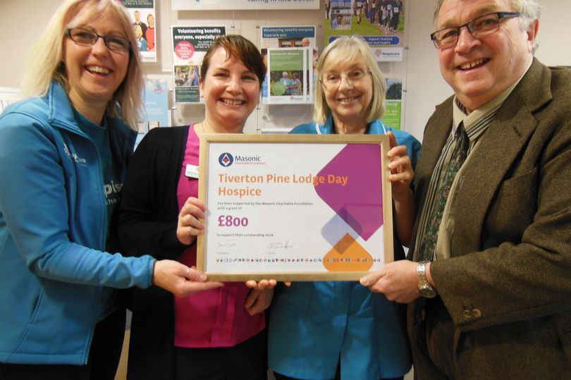 England - Freemasons donate £800 to Hospiscare's Pine Lodge in Tiverton