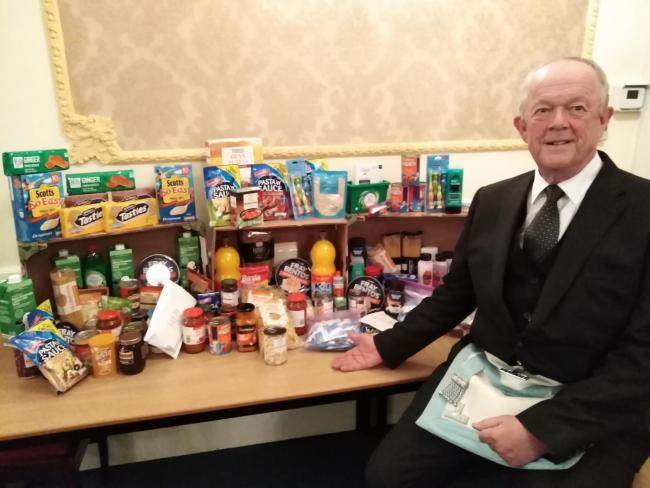 England - Skipton Freemasons donate goods to food bank charity
