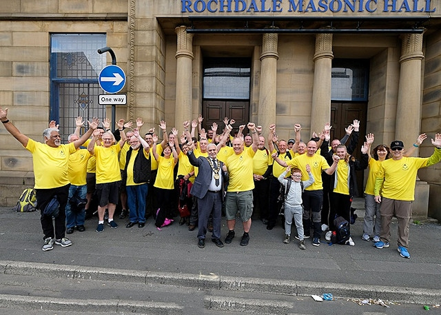 England - Freemasons walk the district to raise hundreds of pounds for charity