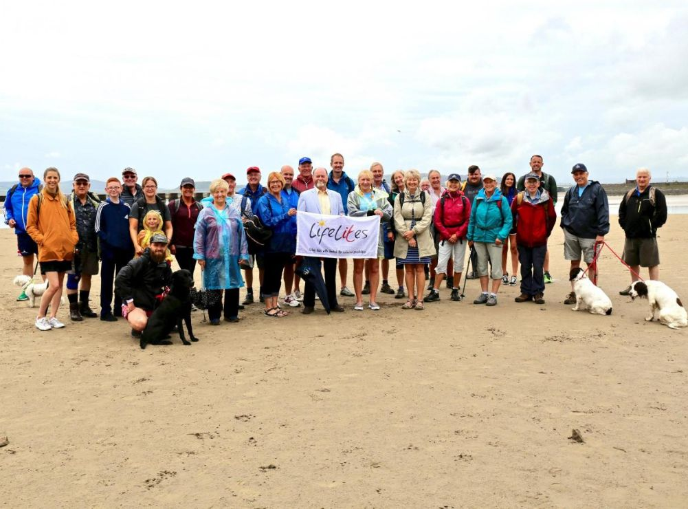England - Freemasons walk across Morecambe Bay for young hospice patients