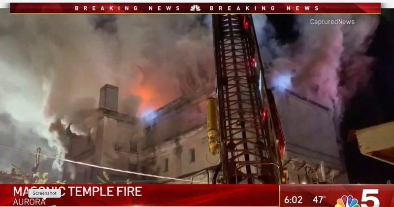 US - Former Aurora, Illinois Masonic Temple Destroyed By Fire