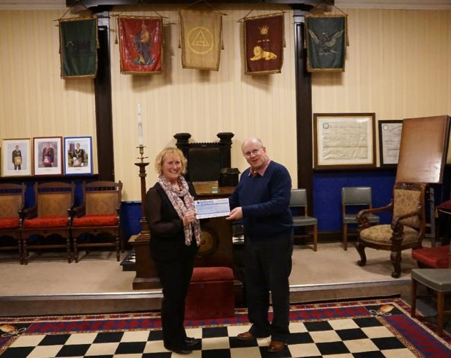 England - Malvern Lodge of Freemasons donate £2,200 to Rory the Robot appeal