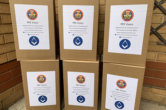 South Wales - Freemasons donate 3,000 visors to frontline workers