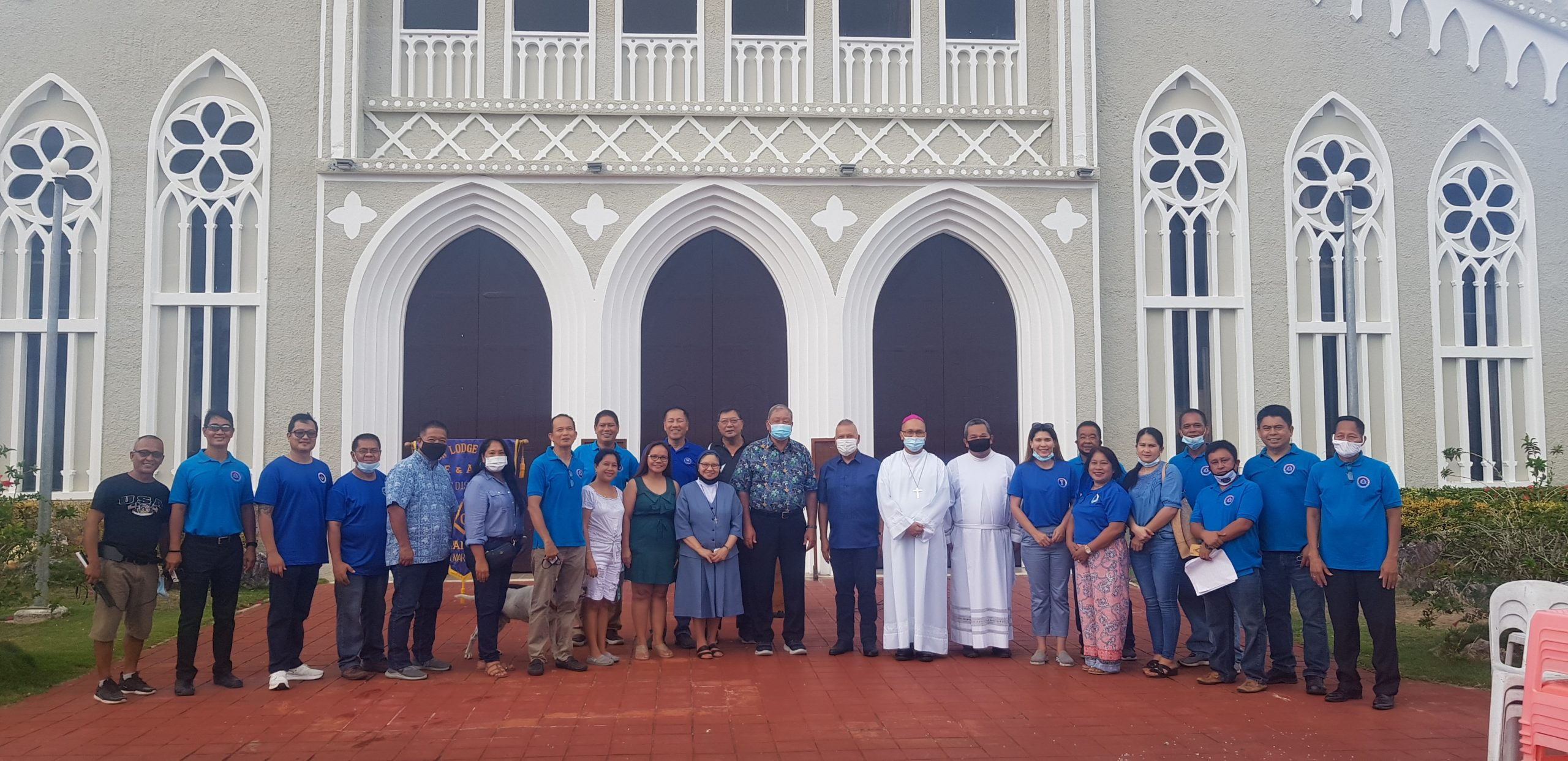 Micronesia - Freemasons install new tower clock at Mount Carmel Cathedral