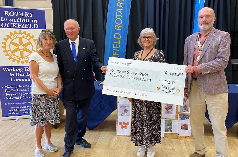 England - Uckfield Rotary Club and Sussex Freemasons present charity cheques