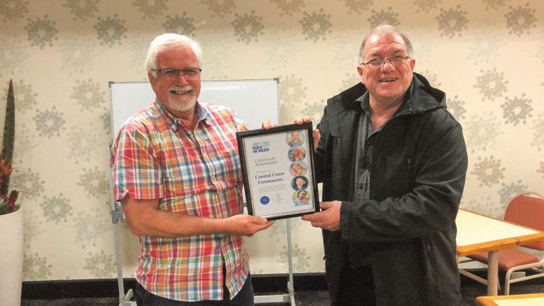 Australia - Freemasons recognised for ongoing support