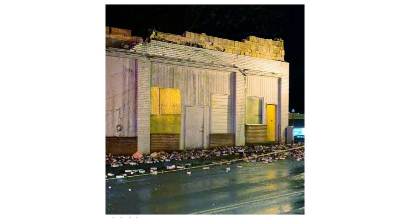 Wyoming/U.S. - Sheridan's former Masonic building partially collapses