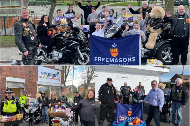 England - Masonic bikers delivering 1,500 Easter eggs to good causes across Northumberland