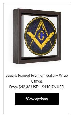 Masonic Square Framed at MasonicMan