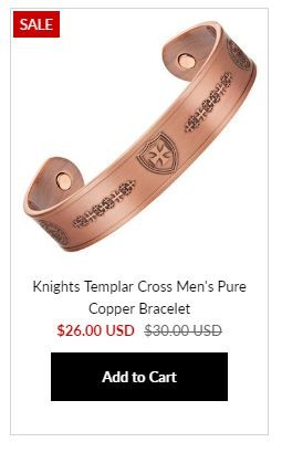 Templar Copper Bracelet at MasonicMan